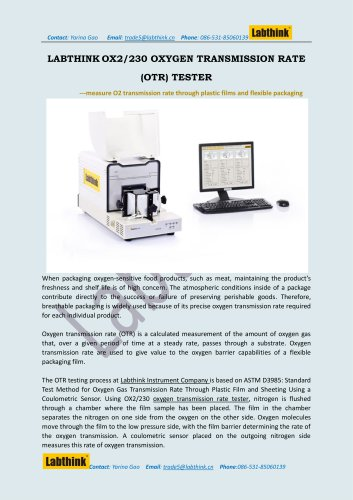 Labthink Oxygen Permeation Testing Equipment for plastic bags and films