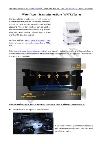 Labthink professional water vapor permeance test equipment for barrier materials