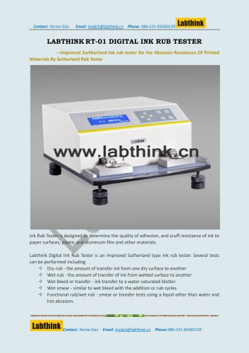 Labthink Rub-01 Ink Rub Tester to measure Ink abrasion Resistance on printing materials