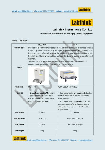Labthink rub tester to test abrasion resistance for printing materials