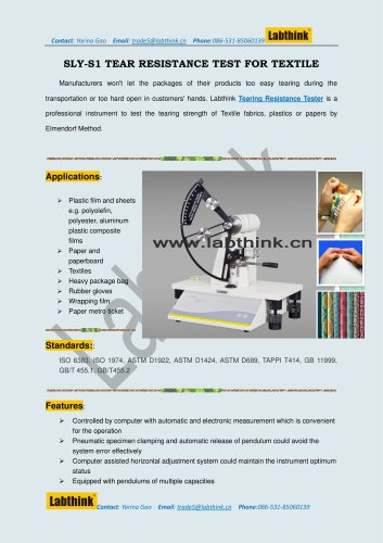 Labthink SLY-S1 Tear Resistance Tester for plastic materials