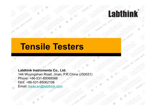 Labthink Tensile Test Device for Flexible Materials