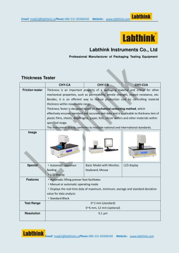 Labthink thickness gauge for sheeting materials China supply