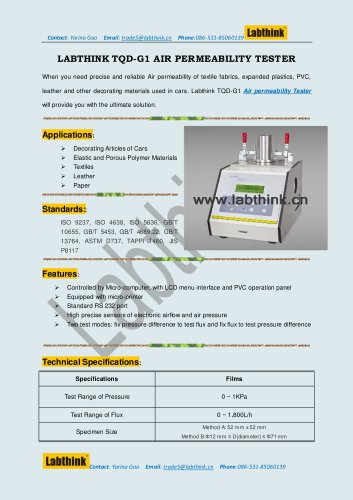 Labthink TQD-G1 Air Permeability Testing Instruments for Textiles & fabrics, Paper