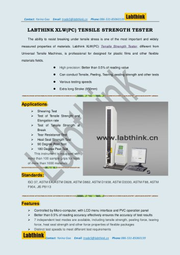 Labthink XLW (PC) Tensile Tester can be used for Penetration Test for Rubber Stoppers