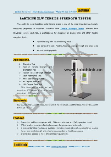 Labthink XLW Tensile Tester for Tension Test of PVC IV Infusion Bags