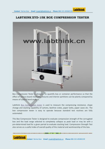 Labthink XYD-15K Compression Tester for Folding cartons and Corrugated cases