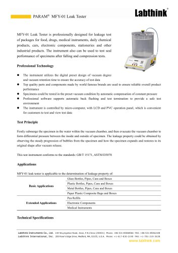 Negative Pressure Method Pharmaceuticals Packaging Seal Integrity Test Instrument