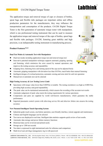 New Design Tube Screw Closure Application and Removal Torque Test Apparatus