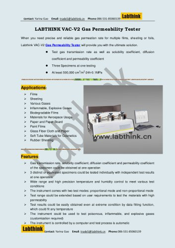 Oxygen and Gas Permeability tester of Polymer Films