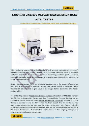 Oxygen Permeation Testing Equipment