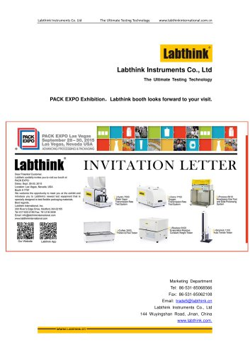PACK EXPO Exhibition,Labthink Booth waiting for your visit