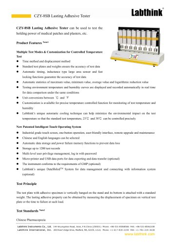 Pressure-Sensitive Tape Last Adhesive Testing Instrument