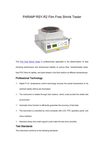Shrinkage tester for PE films