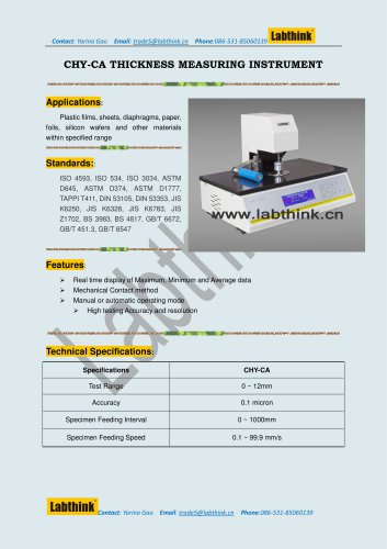 Stationary thickness measurer for Polymer Films