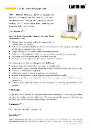 Storage Retention Packaging Film Thermal Shrinkage Tester