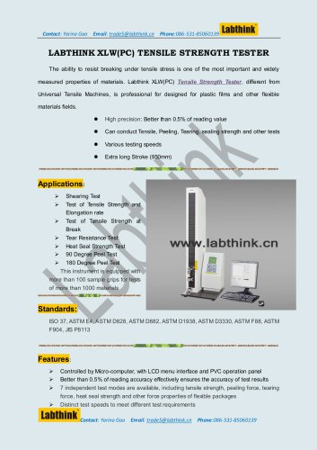Tensile strength tester for Breaking Strength test of Artifical skin