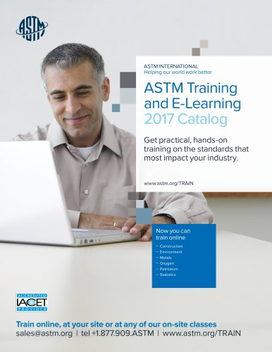 ASTM Training and E-Learning 2017 Catalog