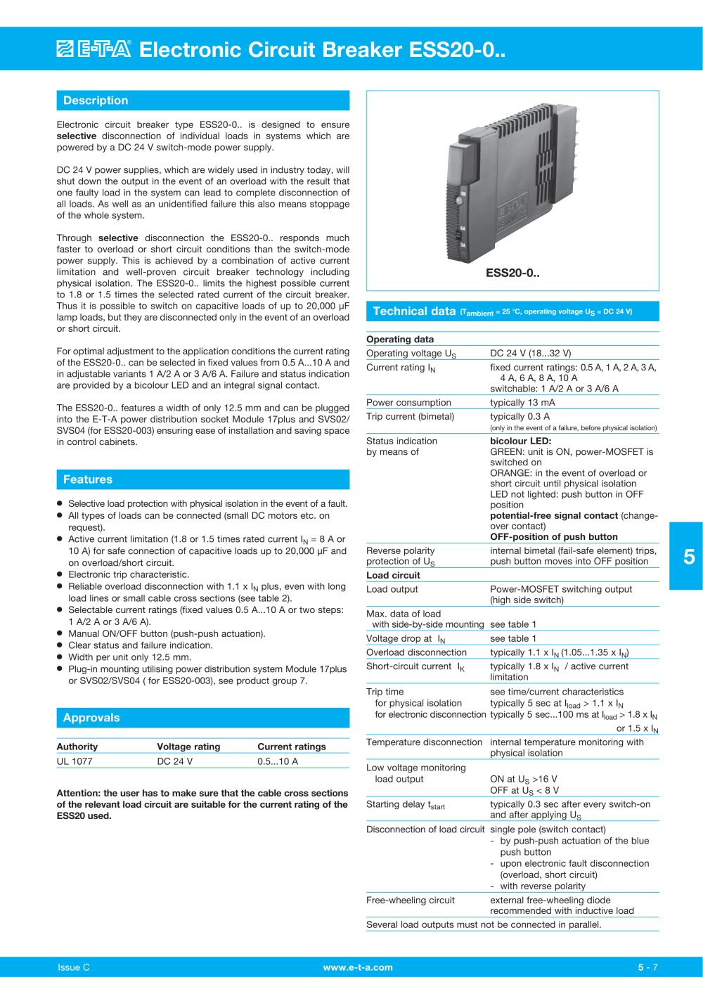 Electronic Circuit Breaker Ess20 E T A Pdf Catalogue Technical Long Time Delay Formed By The Power Mosfet Basiccircuit 1 8 Pages