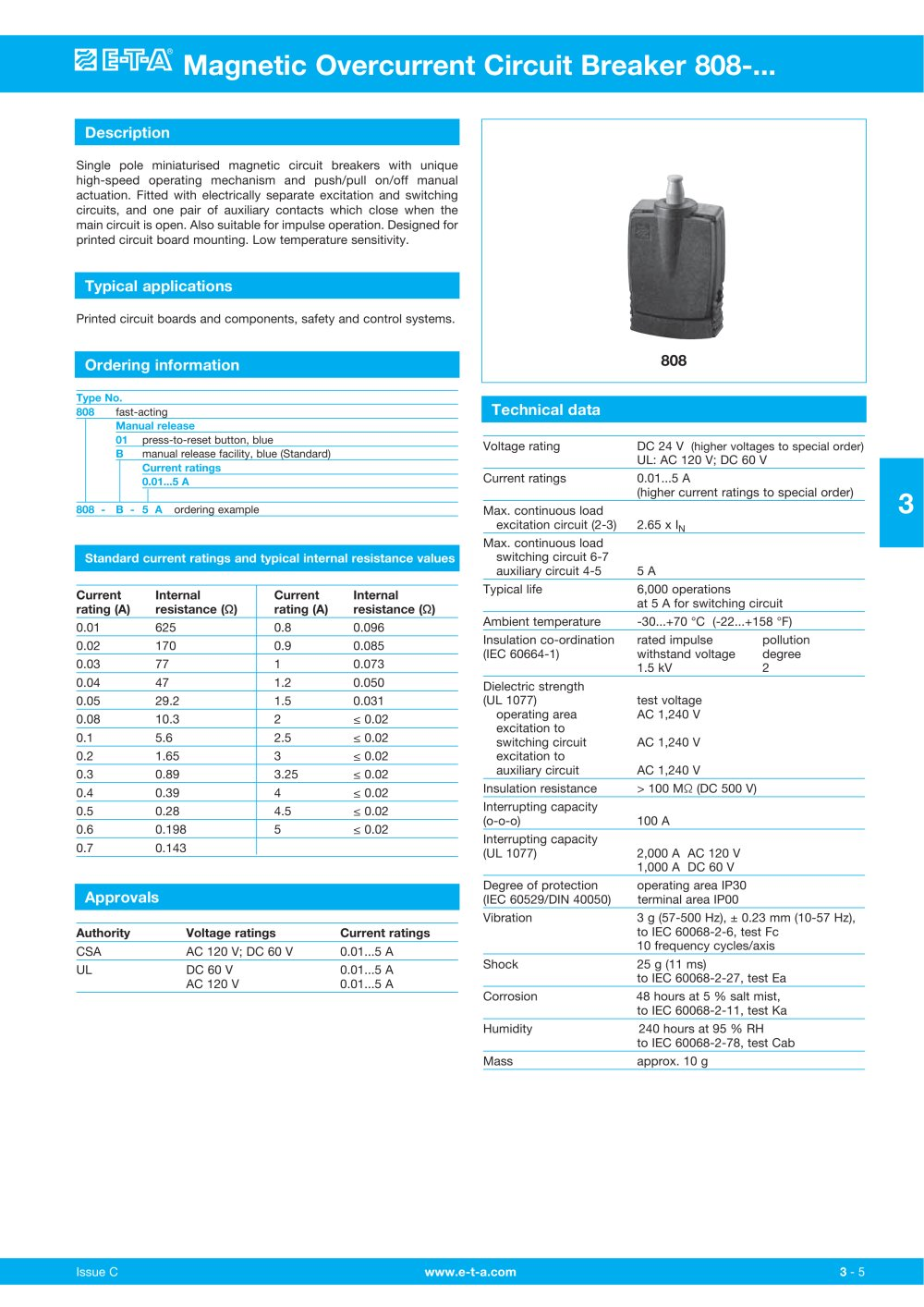 Magnetic Overcurrent Circuit Breaker 808 E T A Pdf Catalogue Thermal Breakers Trip And Turn Off The If Current 1 2 Pages