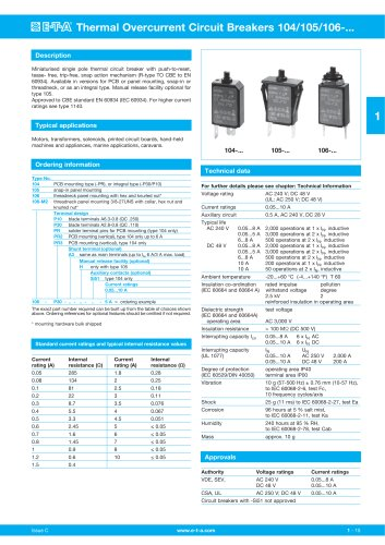 Thermal Overcurrent Circuit Breakers 104/105/106