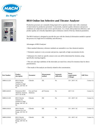 8810 Online Ion Selective and Titrator Analyser