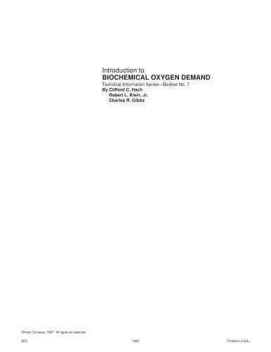 Introduction to Biochemical Oxygen Demand