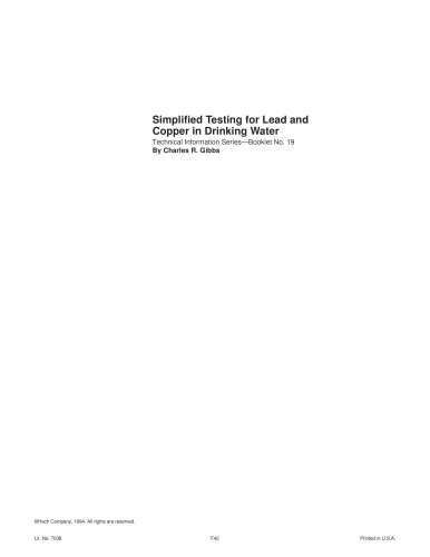 Simplified Testing for Lead and Copper in Drinking Water, Booklet No. 19