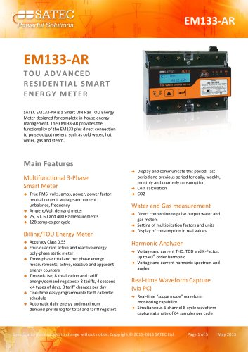 EM133-AR Datasheet - SATEC - PDF Catalogs | Technical