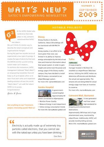 SATEC Newsletter September 2009