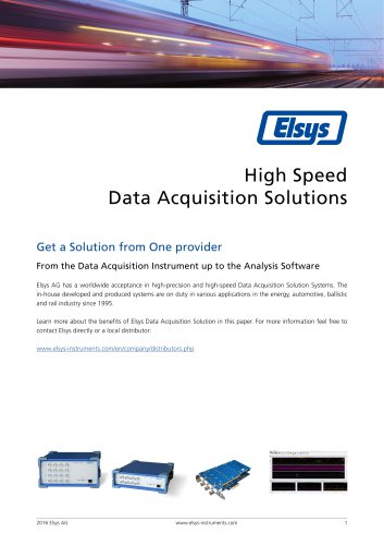 The Elsys Data Acquisition Solution