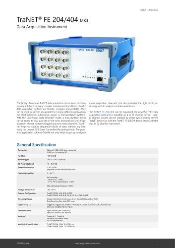 TraNET FE - Data Acquisition Instrument Datasheet