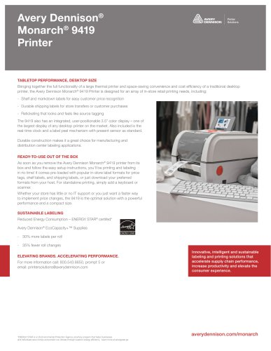 Avery Dennison®Monarch® 9419Printer
