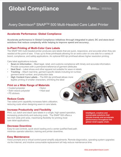 Avery Dennison® SNAPTM 500 Multi-Headed Care Label Printer