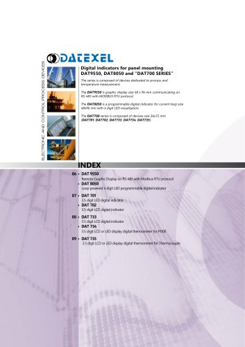 "Digital indicators for panel mounting DAT9550, DAT8050 and ""DAT700 SERIES"""