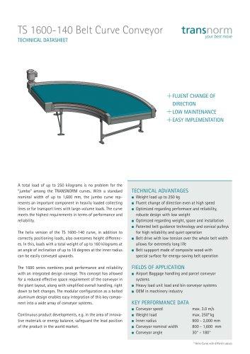 Belt Curve Conveyor TS 1600-140