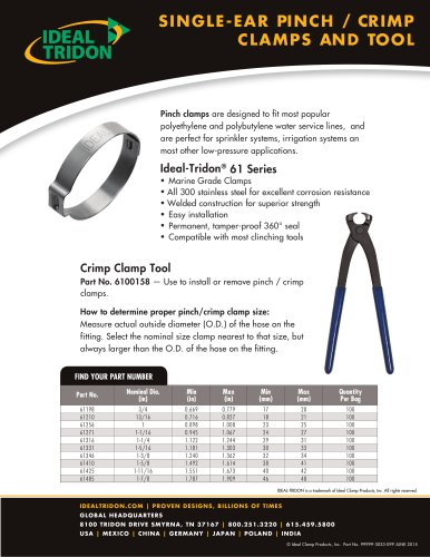 SINGLE-EAR PINCH / CR IMP CLAMPS AND TOOL