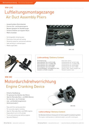 Air Duct Assembly Pliers & Engine Cranking Device