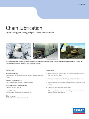 Chain lubrication: productivity, reliability, respect of the environment
