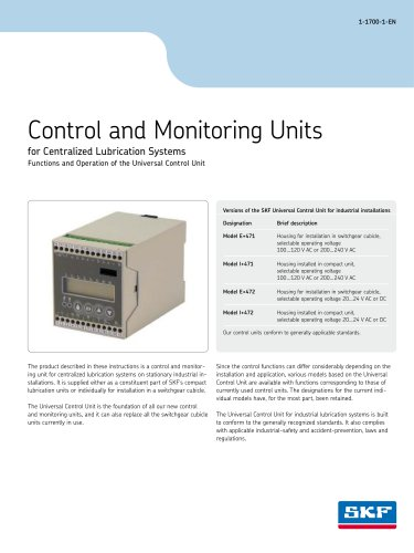 Control and Monitoring Units for Central Lubrication Systems - Functions and Operation of the Universal Control Unit
