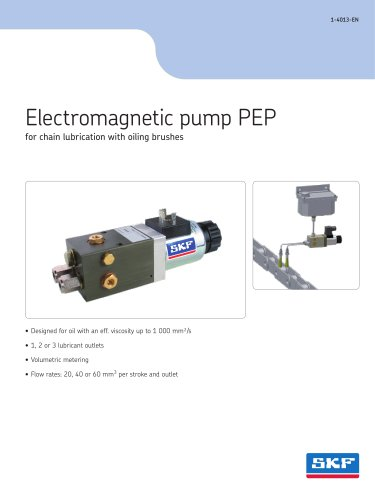 Electromagnetic pump PEP for chain lubrication with oiling brushes