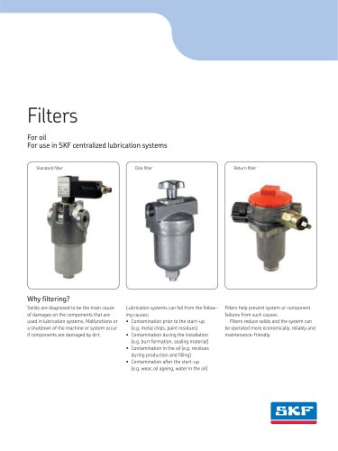 Filters ? Standard filters, screen filters, suction strainers, disk filters, return filters