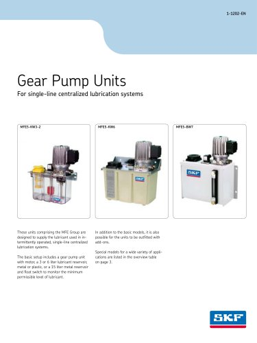 Gear Pump Units for Single-Line Central Lubrication Systems