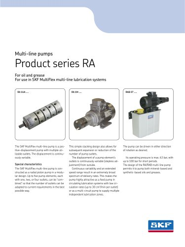 Multi-line pumps Product series RA for use in SKF MultiFlex multi-line lubrication systems