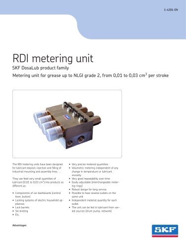 RDI metering unit for grease