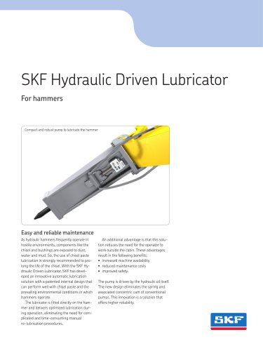 SKF Hydraulic Driven Lubricator for hammers and breakers