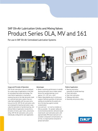 SKF Oil+Air Lubrication Units and Mixing Valves
