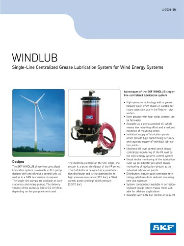 WINDLUB Single-Line Centralized Grease Lubrication System for Wind Energy Systems