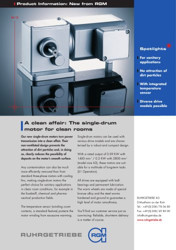 The single-drum motor for clean rooms