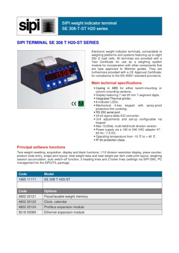 308-T-ST H20 series SIPI computerised table indicator with integrated printer